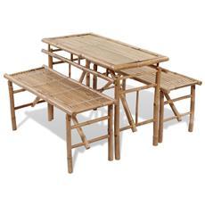 Tavoli Birreria Pieghevoli Prezzi.Vidaxl Tavolo Da Birreria E Picnic Set 3 Pz In Bambu Pieghevole