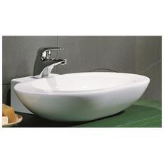 Lavandino Bagno Moderno Lavabo da sospeso lavabo in Ceramica per Bagni Lavello in Ceramica con Foro di Scarico Altezza: 15 cm Lavabo da Appoggio Rotonda Bianco