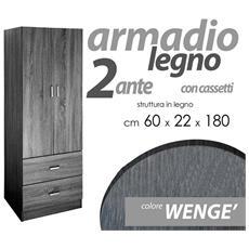 Armadio 2 Ante Wenge.Argonauta Armadio Camera Due Ante E Due Cassetti Cm 60 X 42 X 180 H Eprice