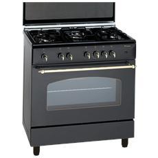 BOMPANI - Cucina a Gas BO857EB / N 5 Fuochi a Gas Forno a Gas ...