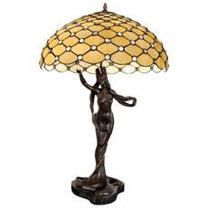 Lampada scultura con gemme Prestiguosa Lampada da tavolo con paralume in vetro saldato lavorazione Tiffany e con scultura in bronzo come supporto