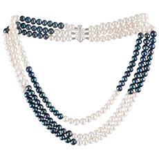 2d1b7c89cf0f23 Blue Pearls - Collana Perle Coltivate Bianco E Nero E 925 Argento - Bps  0100 Y - ePRICE