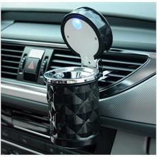 Posacenere per auto con luce LED blu con coperchio colore: nero per auto