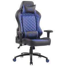 Sedia Gaming con Doppio Cuscino Rapid in Similpelle I Poltrona Racing Ufficio con Braccioli Orientabili I Sedia da Gamer Professionale Nero Blu