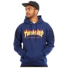 Thrasher Felpa Con Cappuccio Thrasher Flame Logo Blu Scuro
