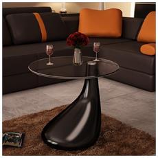 Tavolino Salotto Moderno Vetro Design Nero A Goccia