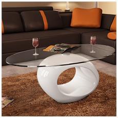 Tavolino Da Salotto Moderno Prezzi.Tavolino Salotto Moderno Vetro Design Bianco Ovale