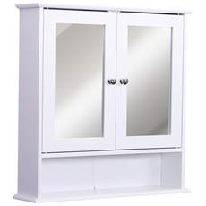 kleankin Mobiletto Pensile Bagno Armadietto a Parete in MDF Bianco con Specchio e 3 Ripiani 60 x 10 x 48cm