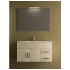 Mobile per Bagno da 100cm bianco e essenze legno con lavabo in ceramica 3 colori