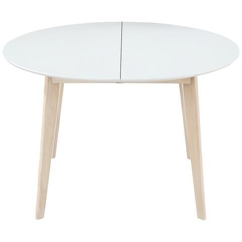 Tavolo Tondo Allungabile In Legno.Miliboo Tavolo Da Pranzo Design Rotondo Allungabile Bianco E