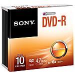 SONY - Dvd-r 4.7gb 16x Slim Case Conf. 10