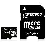 TRANSCEND - MicroSDHC da 4 GB con Adattatore SD