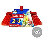 VILEDA - Set 6 Scopa Esterni 2 In 1 Attrezzi Pulizie
