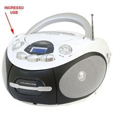 Lettore CD / Cassetta Portatile Supporto MP3 / WMA Ingresso USB colore Bianco