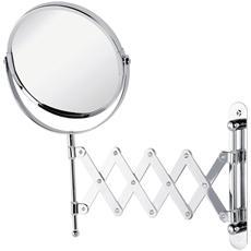 Specchio da muro estensibile in acciaio cromato con doppio specchio
