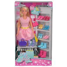 Steffi Love - Fashion Love - Bambola Con 3 Borse Fashion E 10 Paia Di Scarpe