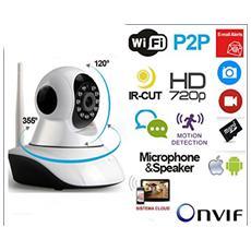 Telecamera Ip Camera Hd 720p Wireless Led Ir Lan Motorizzata Wifi Rete Internet Doppia Antenna