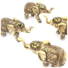 set di 4 statuette 'elephant indien' - [ k1230]