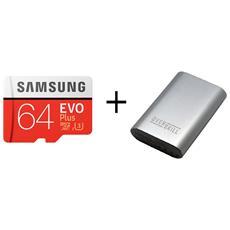 MicroSD XC EVO Plus 64GB 100Mb / s con adattatore SD + PowerBank 6250 mAh con cavo MicroUsb
