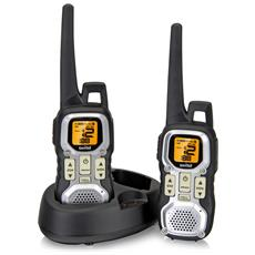 WTF8000CC Kit Ricetrasmittenti PMR-Walkie&Talkie 446Mhz, 8 canali e sotto canali portata 10km ricaricabili nero / silver