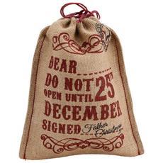Christmas Do Not Open Until Christmas Sacca Per Regali Misura Small (23,5 X 19) (marrone Chiaro / rosso)