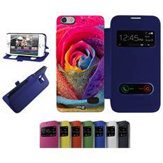 Flip Cover Blu Fiore Petali Per Huawei G Play Mini Blu - Custodia Protettiva Richiudibile