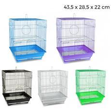 189092 Gabbia Per Uccelli Di Piccole Dimensioni Titti 43.5x28.5x22cm Mangiatoie - Bianco