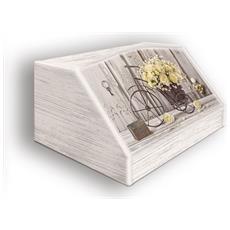 Portapane Con Decoro In 'yellow Roses' In Legno Shabby Dalle Dimensioni Di 30x40x20 Cm