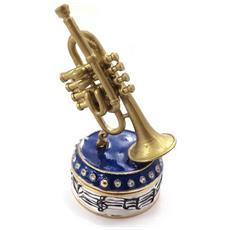 scatole per gioielli 'trompette' dorato blu - [ j7385]