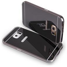 Bumper Cover Cornice In Alluminio Per Samsung Galaxy S6 Edge G925 Serie Luxury Nero Con Back Cover A Specchio