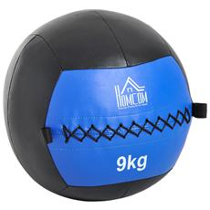 Palla Medica Crossfit Fitness Wall Ball 9kg In Ecopelle 35cm, Nero-blu
