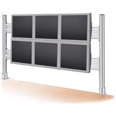 Braccio Per Supporto 6 Monitor Lcd In Orizzontale (Fissi) , Montaggio A Tavolo