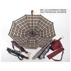 Ombrello Scozzese Medio Golf Richiudibile Diametro 120 Cm Sacca - Scatola 12 Pz