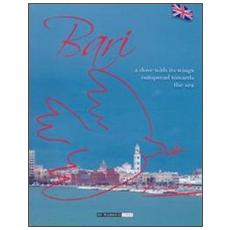 Bari. A dove with its wings outspread towards the sea