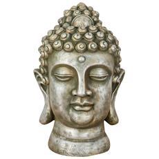 Testa Di Buddha In Resina Finitura Orto Anticato L29xpr30xh46 Cm