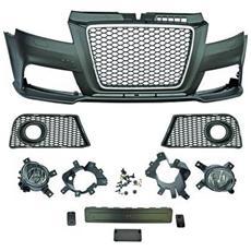 Paraurti anteriore sportivo Tuning Audi A3 2008-2012 Calandra cromata nera no sensori per lavafari Look RS3