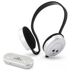 Cuffie Stereo Titanium Swing Wireless Con Microfono Ricevitore Radio Fm Bianco