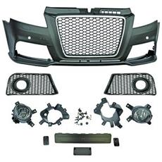 Paraurti anteriore sportivo Tuning Audi A3 2008-2012 Calandra cromata nera per sensori per lavafari Look RS3