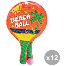Set 12 Racchette Spiaggia Con Pallina 37612 Globo Giocattoli