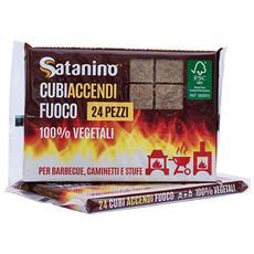 Cubi Accendifuoco 24 Pezzi - 100% Vegetali Ideali Per Barbecue Caminetti E Stufe