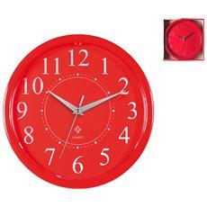 Orologio Parete Tondo Rosso Cm24 Arredo Casa