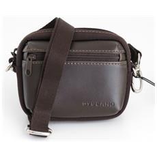 Camera Bag Borsa Stile Extra Small Xs Per Fotocamere E Videocamere Digitali In Pelle E Tessuto Marrone