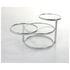 Tavolino Da Pranzo Con Struttura In Metallo Cromato A Sezione Ovale Mod. 0304a