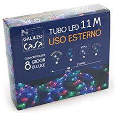 Tubo Di Luci 216 Led 11mt Con Giochi Di Luce, Plastica, Bianco E Rosso