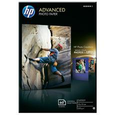 Carta Fotografica Lucida HP Advanced Photo Paper 60 Fogli 10 x 15 cm Senza Margini