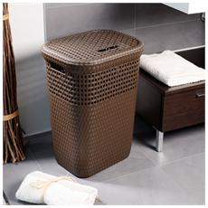 Cesto portabiancheria effetto rattan cesta da bagno 42x33x58 cm per interno