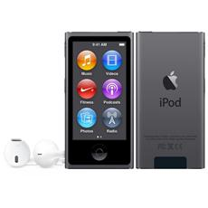 """iPod Nano 16 GB Display Touch 2.5"""" Sintonizzatore FM Bluetooth 4.0 / Nike+ Colore Grigio Siderale"""