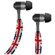 TECARIOCAUK SMARTPHONE Auricolare Stereo in-ear Carioca, jack 3,5 mm universale con tasto alla risposta, bandiera UK RICONDIZIONATO