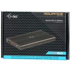 USB 3.0 MySafe AluBasic, 3.0 (3.1 Gen 1) , HDD, SSD, SATA, Seriale ATA II, Serial ATA III, USB, Nero, Alluminio