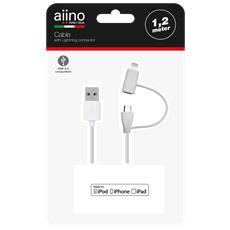 Lightning and micro USB cable 1,2 m MFI - White